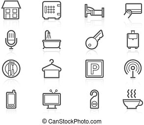 Hotel accommodation amenities - Icon set - Hotel...