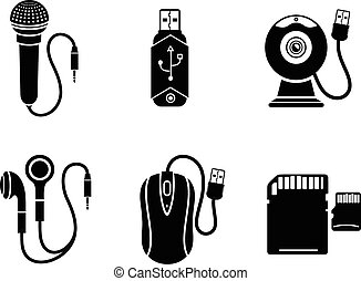 Icon set with web camera, flash drive, earpieces, memory stick, mouse, microphone on white background