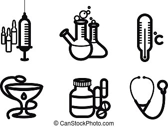 Icon set in black for medicine and pharmacy - Icons black ...