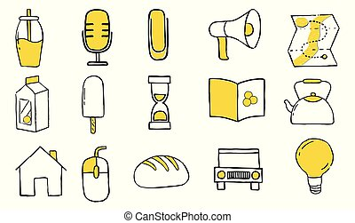 Icon set in doodles style