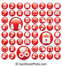 icon set in red gelatin spheres