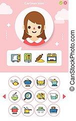 icon set kitchen vector