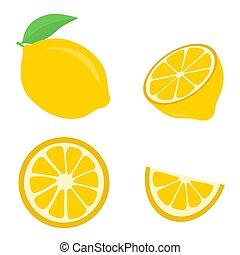 Icon set lemon, vector illustration on a white background