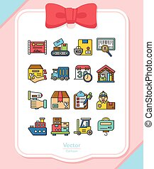 icon set logistic vector