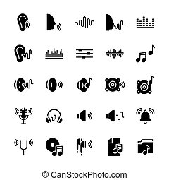 Icon set of acoustics and sound in flat style. Vector symbols.
