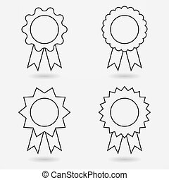 Icon set of award badges or medals with ribbons