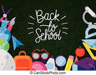 icon set of back to school under green board vector design