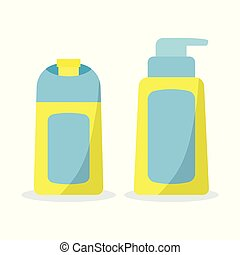 Icon set of bath cosmetic bottles in flat cartoon style.
