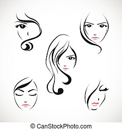 Icon set of beautiful woman's face