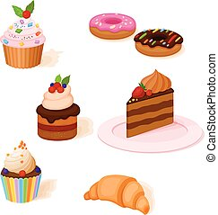 Icon set of cakes, bakery and other pastry
