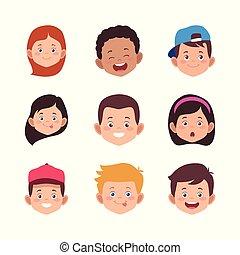 icon set of cartoon kids faces smiling