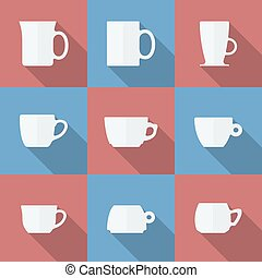 Icon Set of cups. Flat style