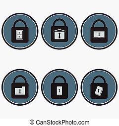 Icon set of data security - Flat design icon set of data...