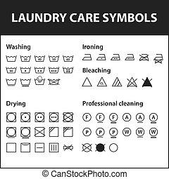 Icon set of laundry symbols. Washing instruction symbols. Cloth, Textile Care signs collection
