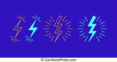 Icon set of Lightning bolt flash. Vector signs