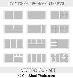 Icon set of location a photos