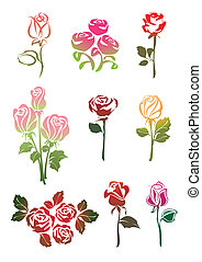 Icon set of Roses