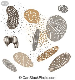 Icon set of sea stones. Vector illustration