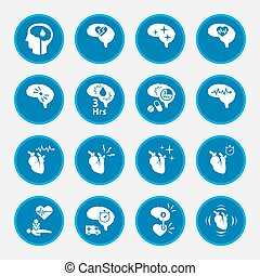 icon set of  stroke disease for infographic. circle blue button