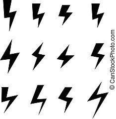Icon set of thunder bolts, vector