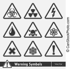 Icon set of warning symbols.