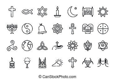 Icon set of world religious world symbols design, Religion culture belief faith god spiritual meditation and traditional theme Vector illustration