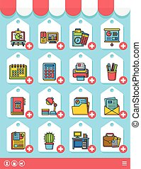 icon set office vector