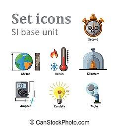 Icon set on basic unit. Vector Illustration