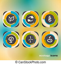 Icon set on the ecology and conservation of energy