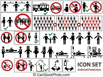 Icon Set Pandemic for Infographic or Website - Transmission and Prevention and Treatment and Recommendation, Vector Graphic