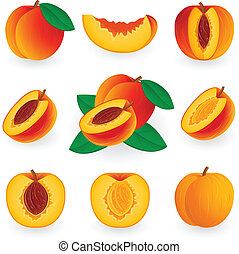 Icon Set Peach - Vector illustration of peach