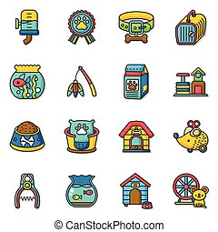 icon set pet vector