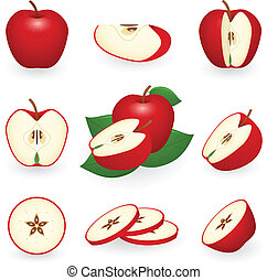Icon Set Red Apple - Vector illustration of red apple
