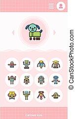 icon set robot vector