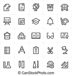 Icon set - school and education outline stroke vector illustration