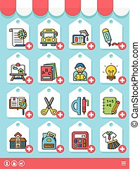icon set school vector
