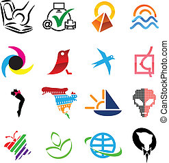 Icon set. - Set of colored elements. Vector illustration.