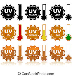 Icon set showing the sun and different levels of the UV Index