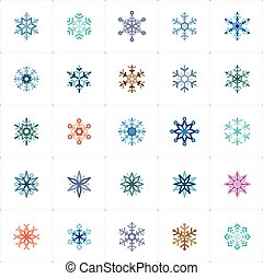 Icon set - snowflake full color outline stroke vector illustration