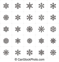 Icon set - snowflake outline stroke vector illustration