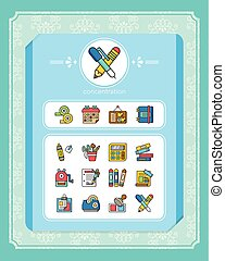 icon set stationery vector