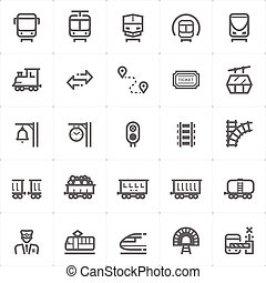 Icon set - train and transport outline stroke vector ...