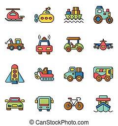 icon set transport
