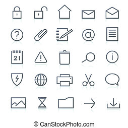 icon set - Vector set of elegant simple icons for common...