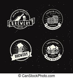 icon set Vintage beer brewery vector emblems, labels, badges, logos, stamp , icon . craft beer with a black background