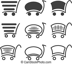 Icon set with a cart for a supermarket or shopping.