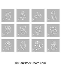 icon set with chinese zodiac signs