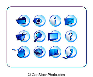 Icon Set with clipping paths - Blue
