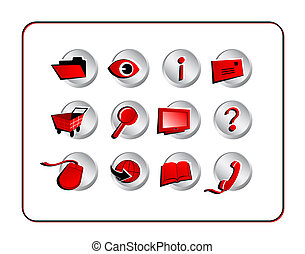 Icon Set with clipping paths - Red - Digital illustration...