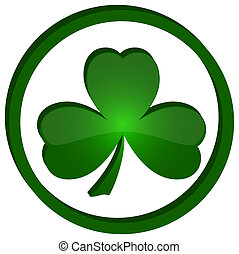 icon shamrock in the circle - green shamrock as a symbol of...